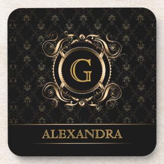 Black Gold Vintage Frame Design 4-Monogram Drink Coaster