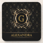 "Black &amp; Gold Vintage Frame Design 4-Monogram Drink Coaster<br><div class=""desc"">Black gold ornate  vintage design frame with custom initial and text. Available on other products.</div>"