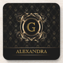 Black & Gold Vintage Frame Design 4-Monogram Drink Coaster