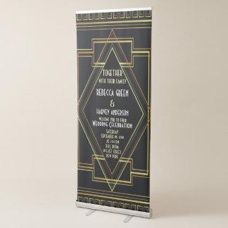 black gold vintage great gatsby wedding reception retractable banner