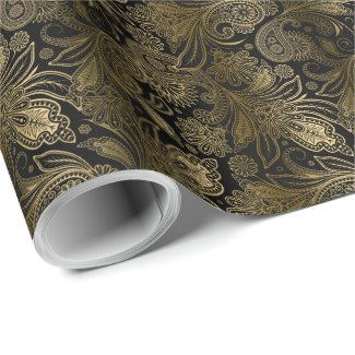 Black & Gold Vintage Indien Ham Paisley Wrapping Paper