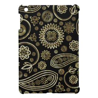 Black & Gold Vintage Paisley Design iPad Mini Cover