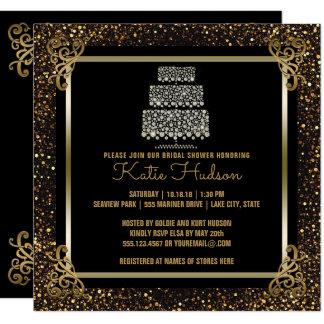 Black Gold Wedding Cake Bridal Shower Elegant Card