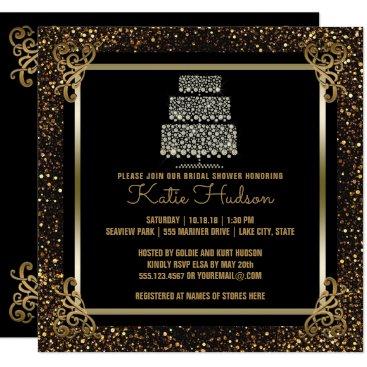 Bride Themed Black Gold Wedding Cake Bridal Shower Elegant Card