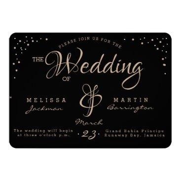 Wedding Themed Black & Gold Wedding Invitation