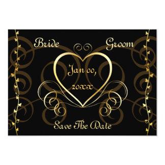 "Black & Gold Wedding Invitation 5"" X 7"" Invitation Card"