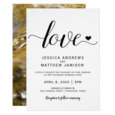 Wedding Themed Black & Gold Wedding Invitations | Marbled Foil