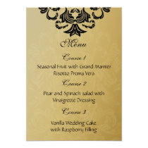 black gold wedding menu card