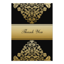 black gold wedding ThankYou Cards
