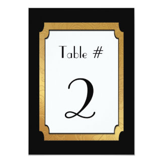Black & Gold Wedding Wedding Table Number Personalized Invite