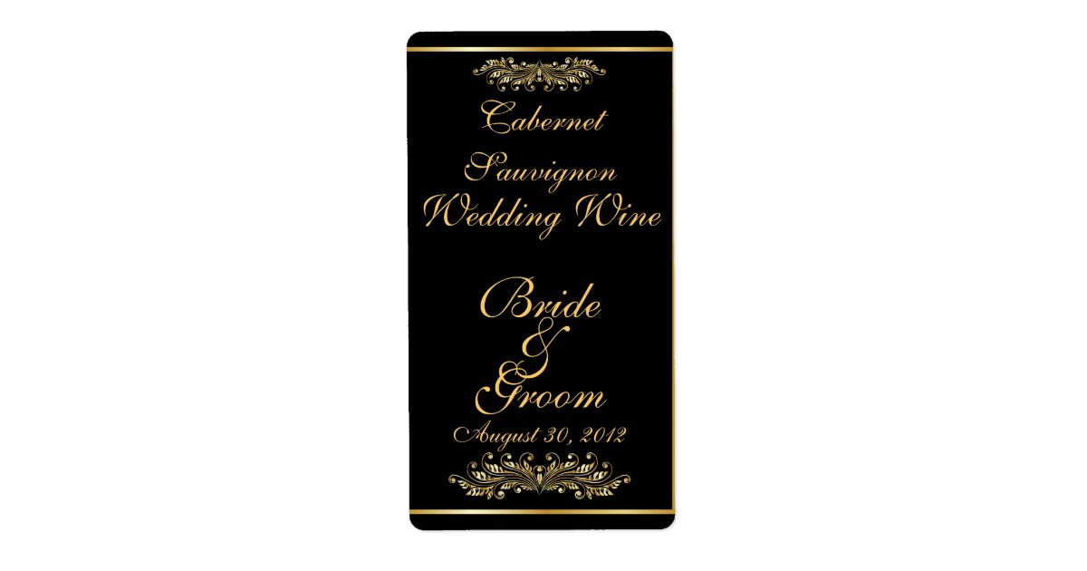Black & Gold Wedding Wine Label | Zazzle.com