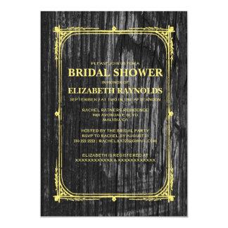 Black & Gold Western Wood Bridal Shower Invitation