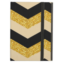Black, Gold & White Chevron iPad Air Case