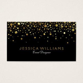 Black, Gold & White Circles Popcorn Reversible Business Card