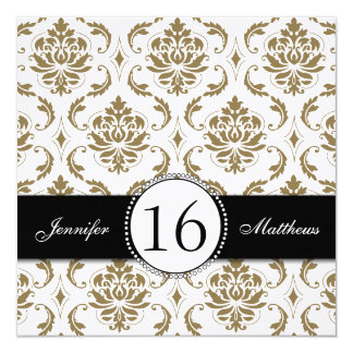 "Black Gold White Damask Sweet Sixteen Invitations 5.25"" Square Invitation Card"