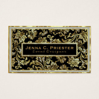 Black Gold & White Faux Glitter Floral Damasks Business Card