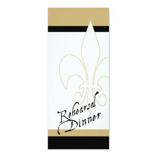 Black Gold White Fleur de Lis Rehearsal Dinner 4x9.25 Paper Invitation Card