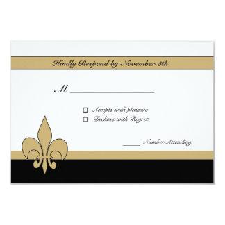 Black Gold White Fleur de Lis RSVP Cards