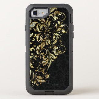 Black Gold & White Glitter Floral Lace OtterBox Defender iPhone 7 Case