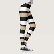Black Gold & White Horizontally-Striped Leggings