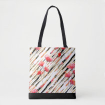 *~* Black Gold White Red Poppy Pattern Tote Bag