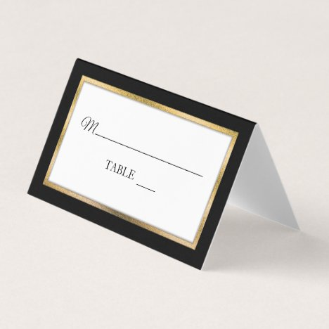 Black | Gold | White Simple Elegant Place Cards