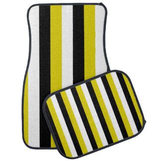Black Gold White Stripes Car Mats Floor Mat