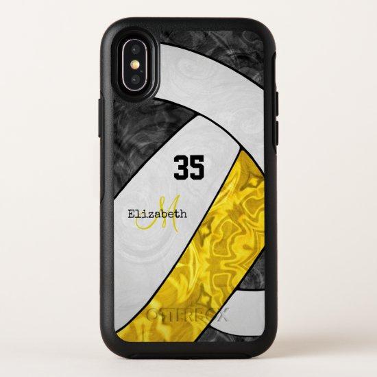 black gold white team spirit girly volleyball OtterBox symmetry iPhone x case
