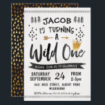 """Black Gold Wild One Boys 1st Birthday Invitation<br><div class=""""desc"""">Looking for a cute wild one 1st birthday invitation for your little boy? This design features some watercolor style fonts, a faux gold crown, and a banner. The design also incorporates various decorative elements like an arrow border and hand drawn pine trees. The background is a scanned watercolor paper. This...</div>"""