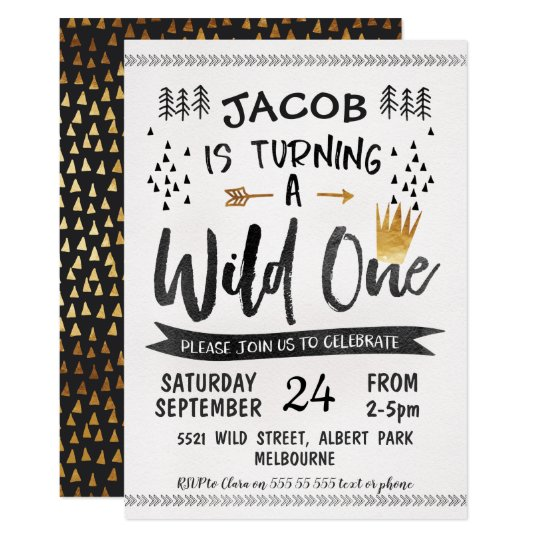 Black Gold Wild One Boys 1st Birthday Invitation Zazzlecom