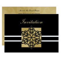 black gold winter wedding Invitation cards