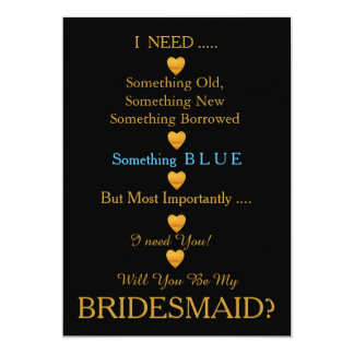 Black & Gold with Heart Will You Be my Bridesmaid Card