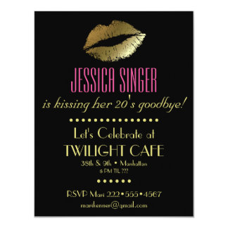 Black & Gold with Lips Contemporary Modern Elegant Card