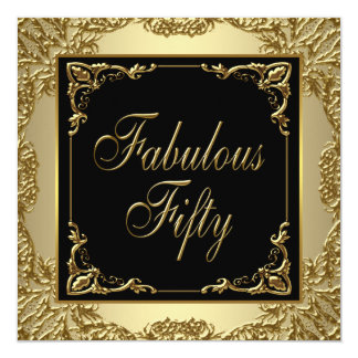 Black Gold Womans 50th Birthday Party Personalized Invites
