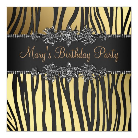 Black Gold Womans Birthday Party Card