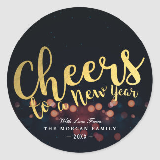 Black & Gold Xmas Cheers to A New Year Typography Classic Round Sticker