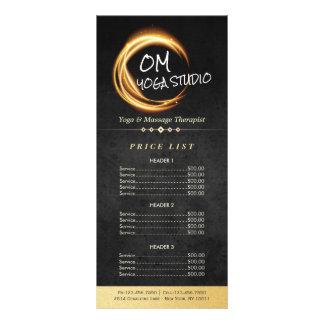 Black Gold Yoga Massage ZEN Sign Light Price List Rack Card