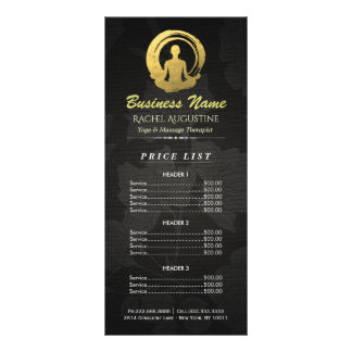 Black & Gold Yoga Meditation ZEN Symbol Price List Rack Card