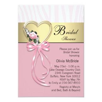 Black Gold Zebra Pink Zebra Bridal Shower Card