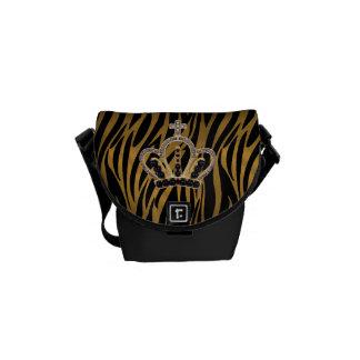 Black & Gold Zebra Princess Messenger Bag