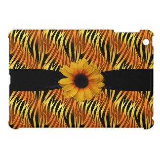 Black & Gold Zebra Print & Sunflower iPad Mini Cover For The iPad Mini