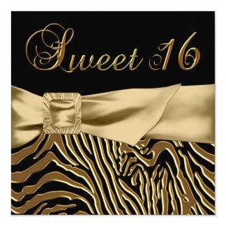 Black Gold Zebra Sweet 16 Birthday Party Card