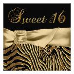 Black Gold Zebra Sweet 16 Birthday Party Custom Invites
