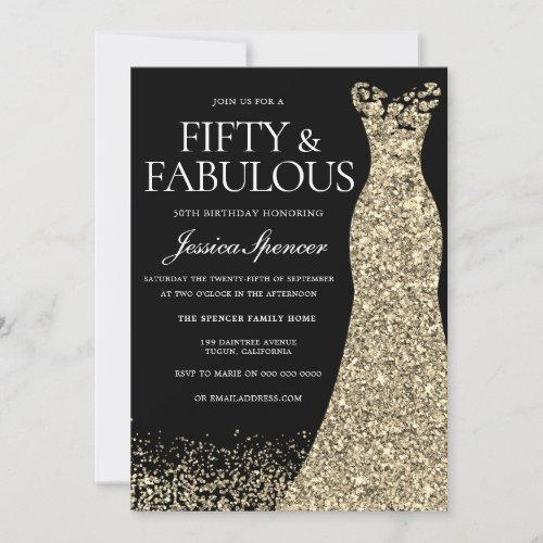 Black Golden Dress Womans 50th Birthday Party Invitation
