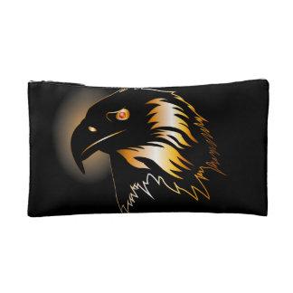 Black, golden eagle makeup bags