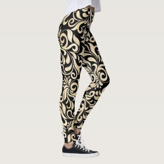 Black golden royal silky damask pattern leggings