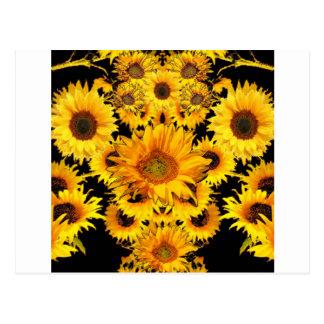 Black-golden Sunflowers Pattern gifts Postcard