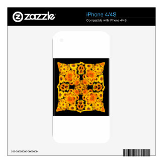 Black-Golden Sunflowers Patterned GIFTS Skins For iPhone 4S