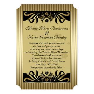 Black & golden swirls art deco Wedding 5x7 Paper Invitation Card