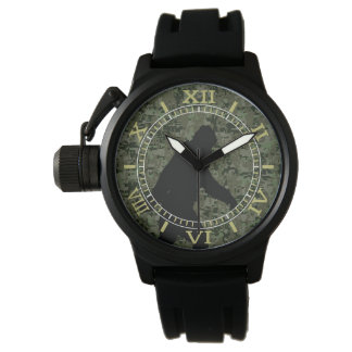 Black Gone Squatchin Woodland Camouflage Dial Watches